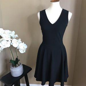 Boston Proper Black Fit & Flare V-Neck Dress